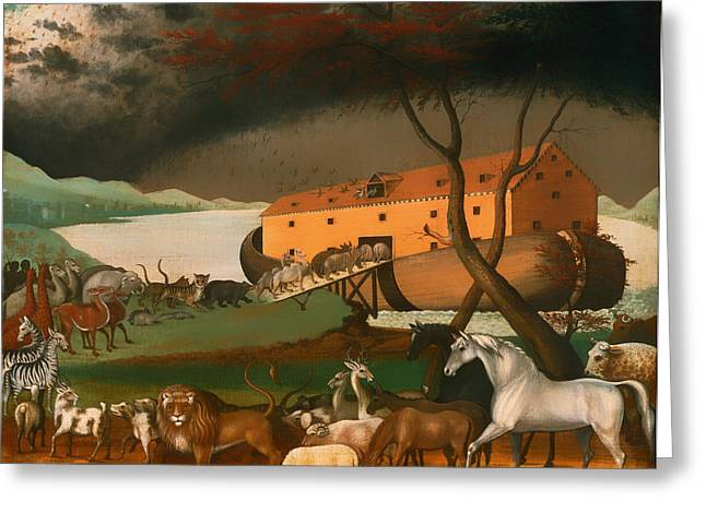Noahs Ark Paintings Greeting Cards - Noahs Ark Greeting Card by Edward Hicks