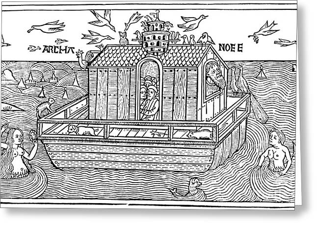Christian Mythology Greeting Cards - Noahs Ark With Merfolk, 1493 Greeting Card by Photo Researchers