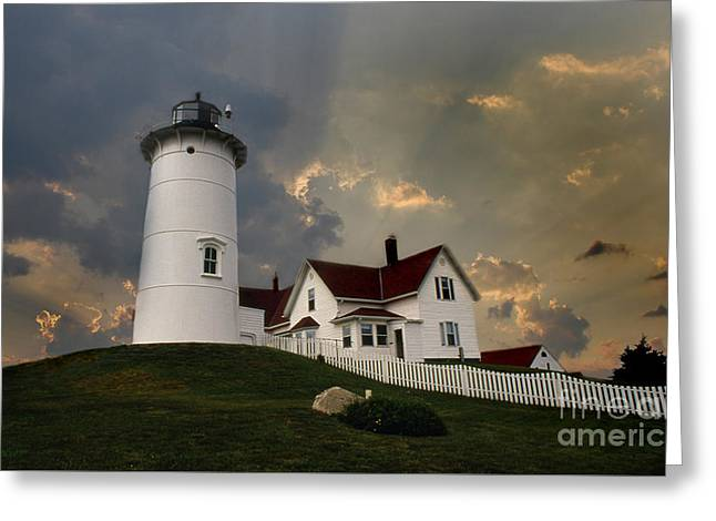 Photos Of Lighthouses Greeting Cards - Nobska Lighthouse Greeting Card by Skip Willits