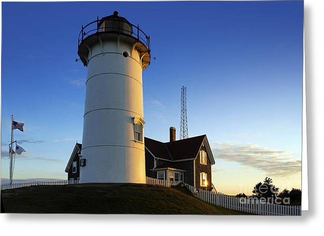 Keepers House Greeting Cards - Nobska Point Lighthouse Greeting Card by John Greim