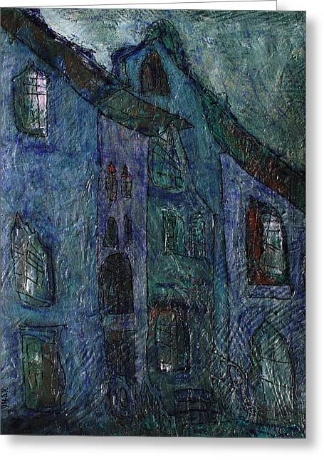 Prague Paintings Greeting Cards - Nocturne  Greeting Card by Oscar Penalber