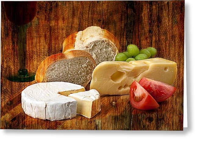 Gunter Nezhoda Greeting Cards - Norwegian Jarlsberg and Camembert Greeting Card by Gunter Nezhoda