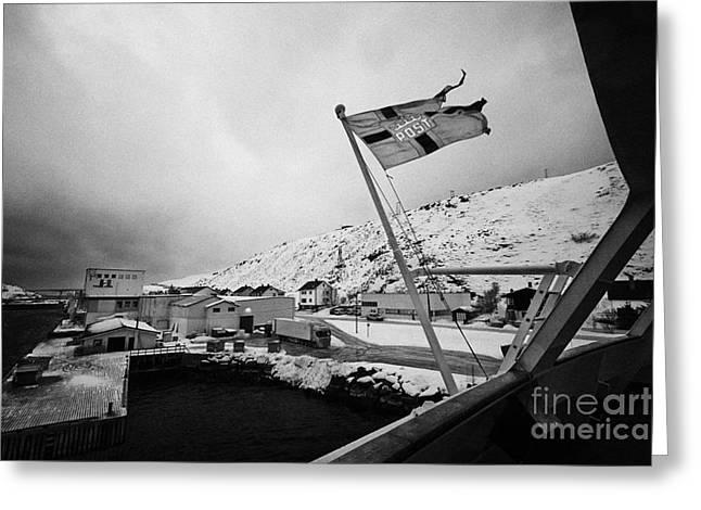 Norwegian Coast Greeting Cards - Norwegian Post Flag Flying On Stern Of Hurtigruten Coastal Ship Havoysund Finnmark Norway Greeting Card by Joe Fox