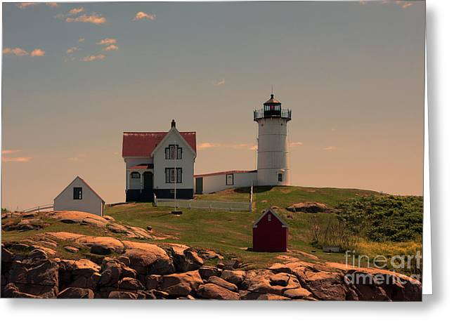 Cape Neddick Lighthouse Greeting Cards - Nubble Light Greeting Card by K Hines