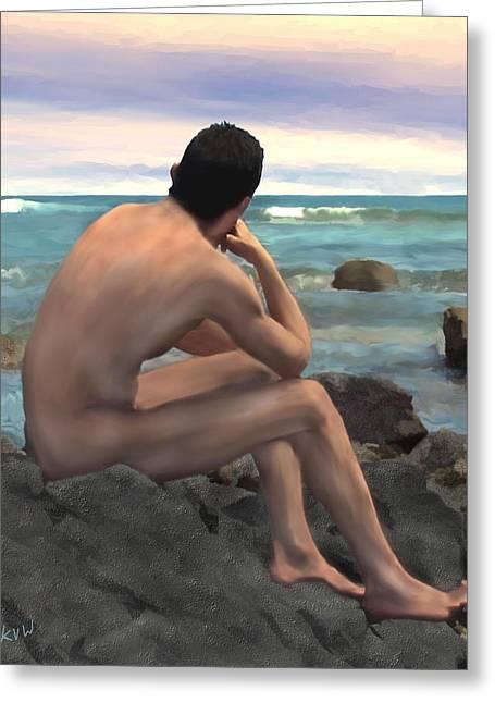 Seaside Digital Art Greeting Cards - Nude Male by the Sea Greeting Card by Kurt Van Wagner