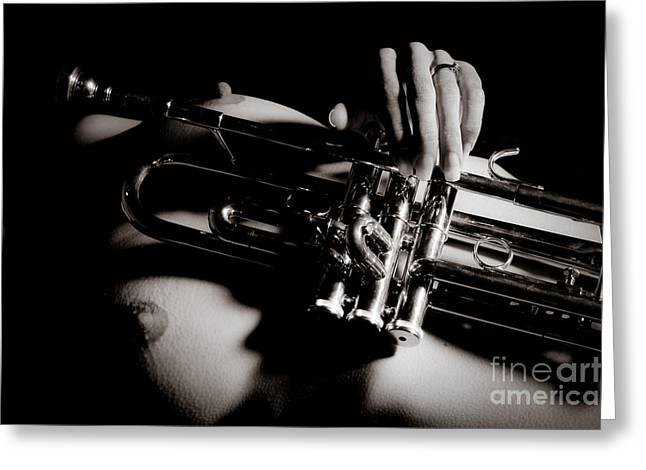 Skinny Greeting Cards - Nude Trumpet Greeting Card by Jt PhotoDesign