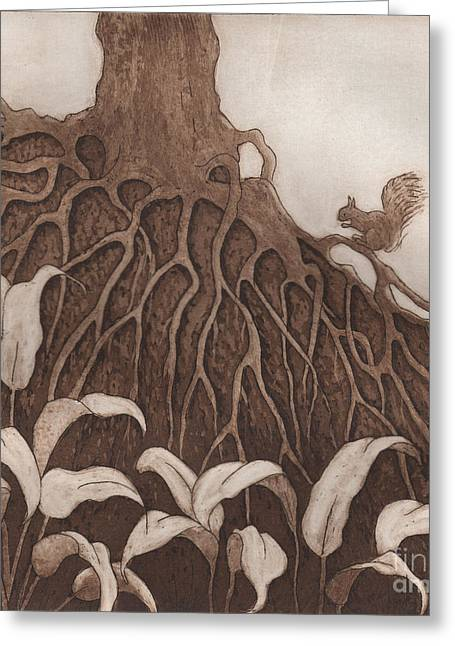 Tree Roots Reliefs Greeting Cards - Nut Maze Greeting Card by Suzette Broad