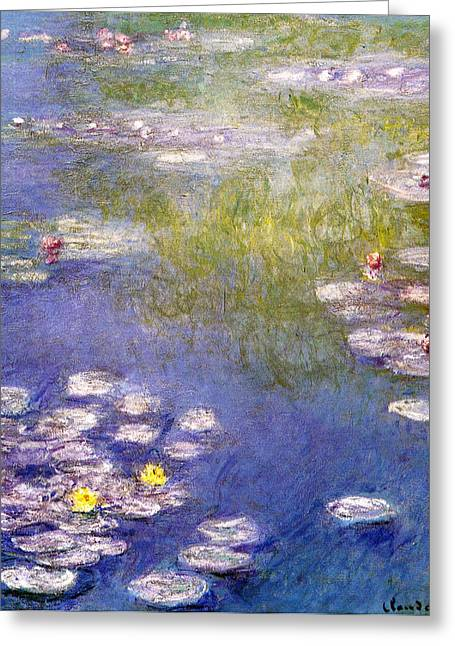 Lilly Pad Greeting Cards - Nympheas at Giverny Greeting Card by Claude Monet