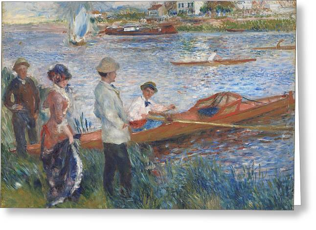 River Paintings Greeting Cards - Oarsmen at Chatou Greeting Card by Pierre-Auguste Renoir