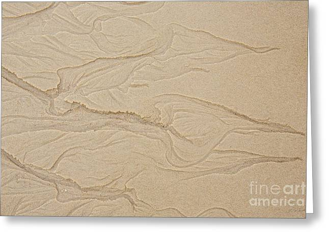Owner Photographs Greeting Cards - Ocean Sand Art Hearts Left Side Greeting Card by Iris Richardson