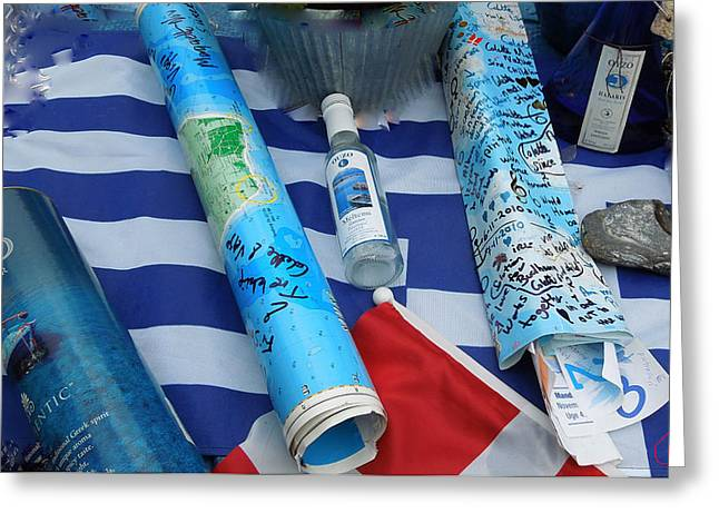 Physically Greeting Cards - Oceon Water Bottle Post Between Santorini Island Greece and Samsoe Island Denmark  Greeting Card by Colette V Hera  Guggenheim