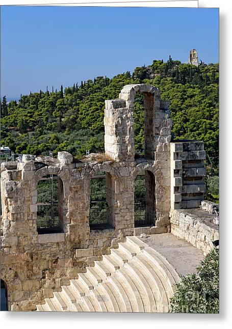 View Greeting Cards - Odeon of Herodes Atticus and hill of Philopappos Greeting Card by George Atsametakis
