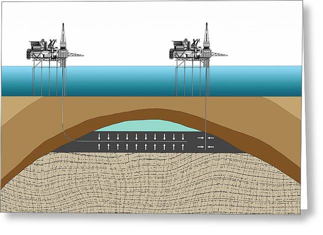Offshore Oil Drilling Greeting Card by Mikkel Juul Jensen