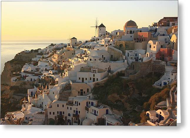 Recently Sold -  - Sea View Greeting Cards - Oia at Sunset Santorini Cyclades Greece  Greeting Card by Ivan Pendjakov