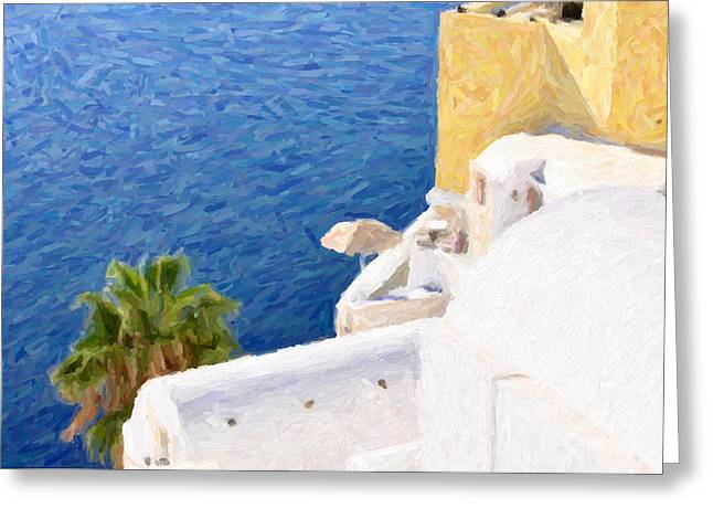 Europe Mixed Media Greeting Cards - Oia in Santorini Island Greeting Card by Firat Cetin