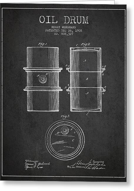 Properties Greeting Cards - Oil Drum Patent Drawing From 1905 Greeting Card by Aged Pixel
