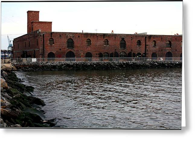 Old Brooklyn Pier Warehouse Greeting Card by Dora Sofia Caputo Photographic Art and Design