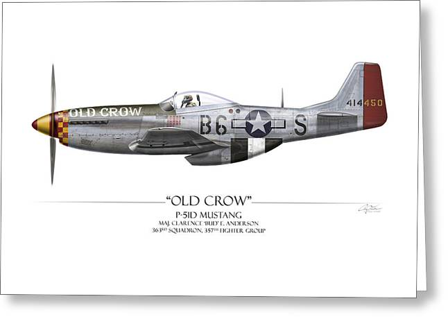 Aircraft Artwork Greeting Cards - Old Crow P-51 Mustang - White Background Greeting Card by Craig Tinder