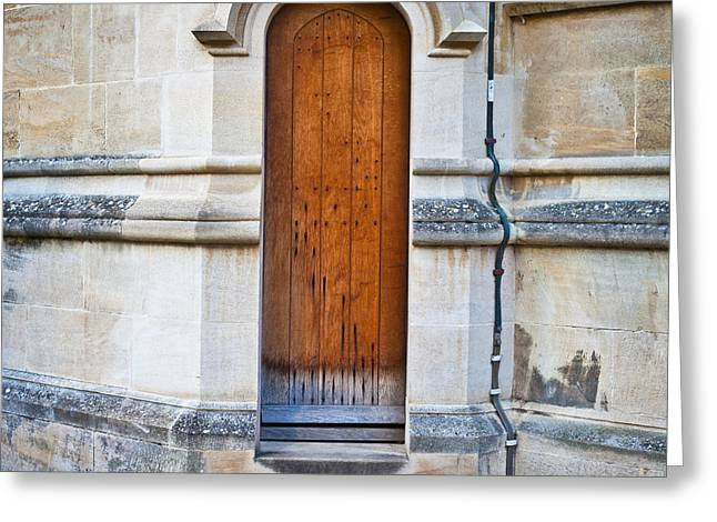 Medieval Entrance Photographs Greeting Cards - Old door Greeting Card by Tom Gowanlock