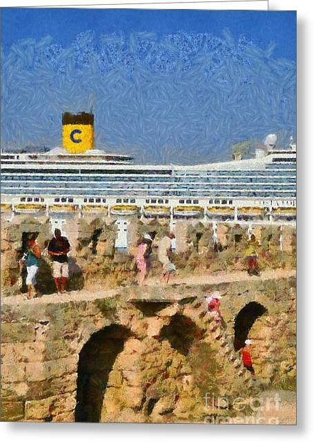 Dodekanissos Greeting Cards - Old fortification and cruise ship Greeting Card by George Atsametakis