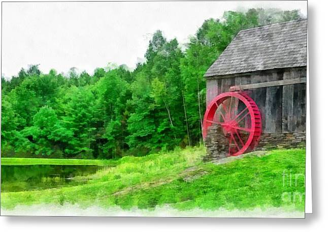 Historic England Greeting Cards - Old Grist Mill Vermont Red Water Wheel Greeting Card by Edward Fielding