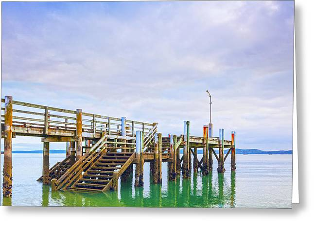 Jetty Greeting Cards - Old Jetty with Steps Maraetai Beach Auckland New Zealand Greeting Card by Colin and Linda McKie