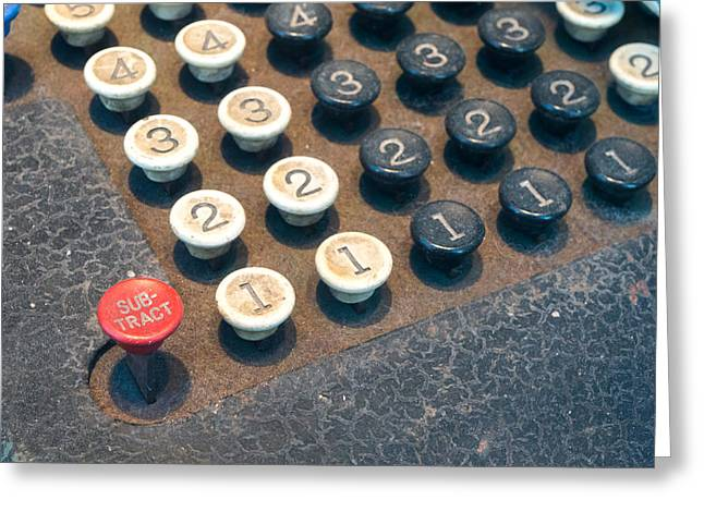 Receipt Greeting Cards - Old Numeric Keypad  Greeting Card by Chay Bewley