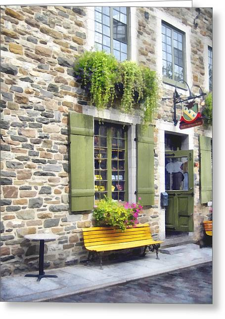 Picturesque Mixed Media Greeting Cards - Old Quebec City Quaint Shops  Greeting Card by Ann Powell