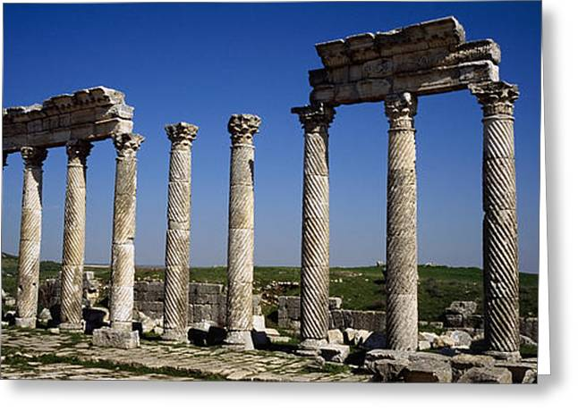 Middle Eastern Culture Greeting Cards - Old Ruins On A Landscape, Cardo Greeting Card by Panoramic Images