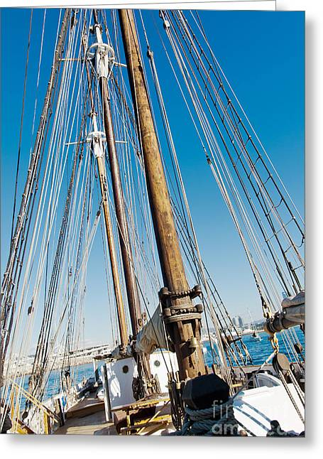 Historic Schooner Greeting Cards - Old Schooner mast and Rope Greeting Card by Photo Cluster