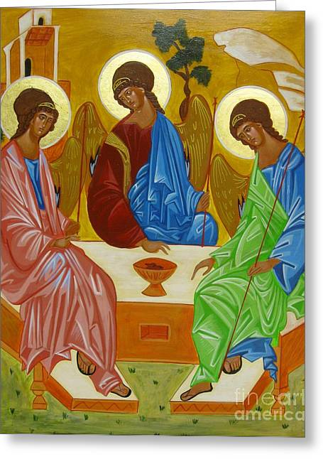 Icon Byzantine Greeting Cards - Old Testament Trinity Greeting Card by Joseph Malham