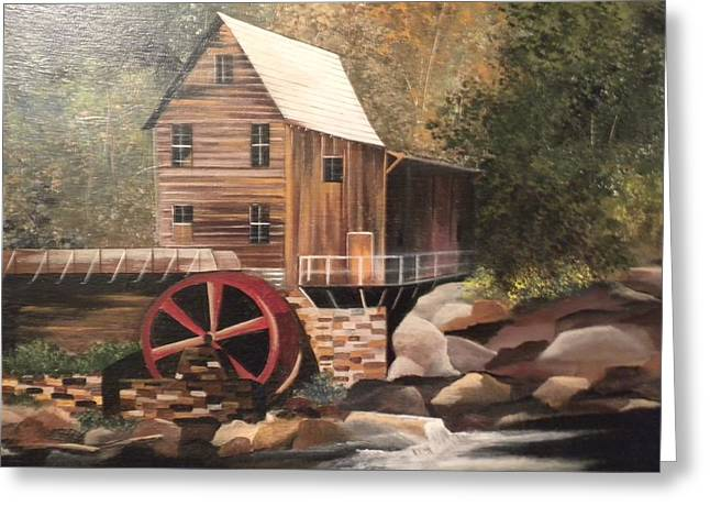 Rush-bed Greeting Cards - Old Water Mill Greeting Card by Peggy Martin