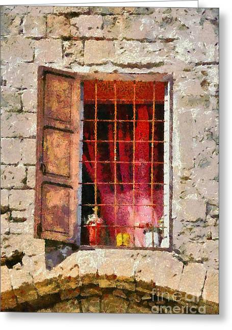 Fortress Greeting Cards - Old window Greeting Card by George Atsametakis