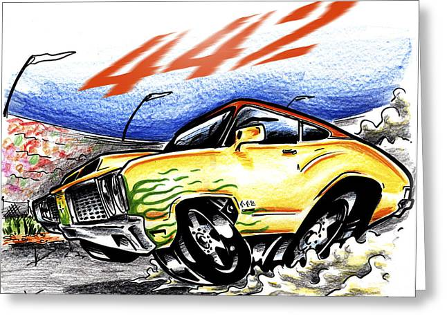 Drag Mixed Media Greeting Cards - Olds Greeting Card by Big Mike Roate