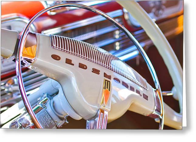 Steering Greeting Cards - Oldsmobile Steering Wheel Emblem Greeting Card by Jill Reger