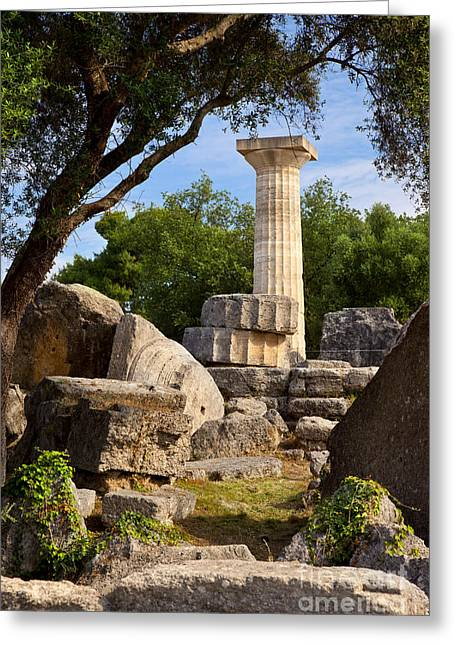 Carved Stone Greeting Cards - Olympia Ruins Greeting Card by Brian Jannsen