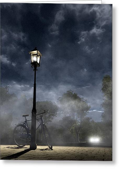 Night Lights Greeting Cards - Ominous Avenue Greeting Card by Cynthia Decker