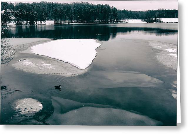 Lovely Pond Greeting Cards - On Frozen Pond Greeting Card by Mountain Dreams