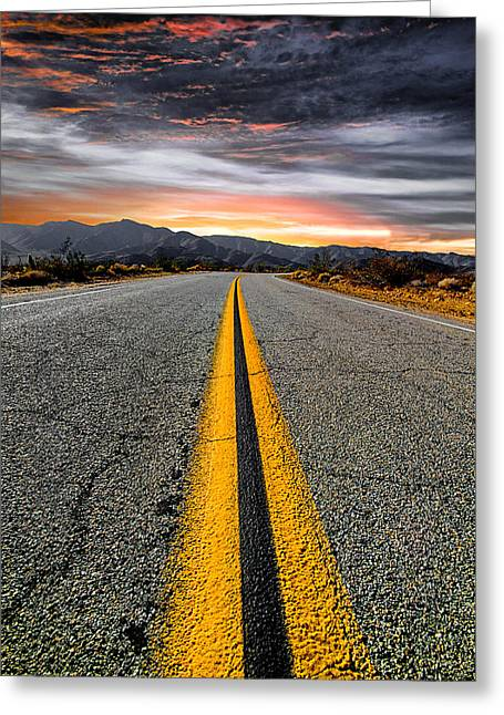 Yellow Line Greeting Cards - On Our Way  Greeting Card by Ryan Weddle