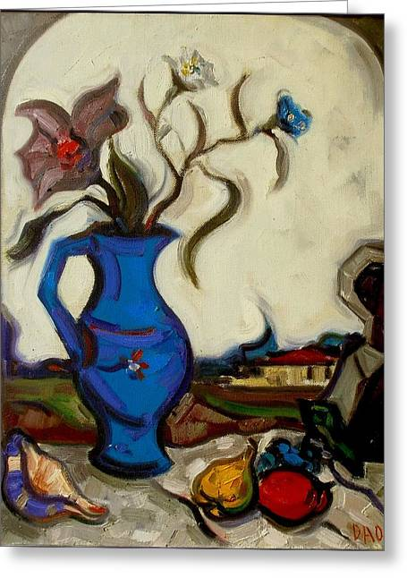 Interior Still Life Paintings Greeting Cards - On the terrace  Greeting Card by  Danail Tsonev