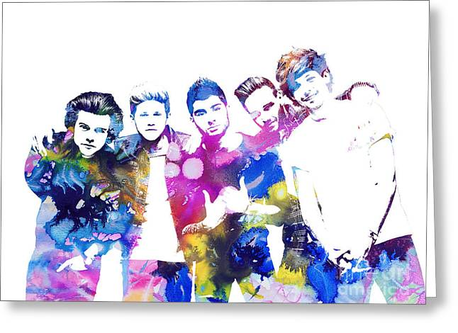 Figurine Mixed Media Greeting Cards - One Direction Greeting Card by Michael Braham
