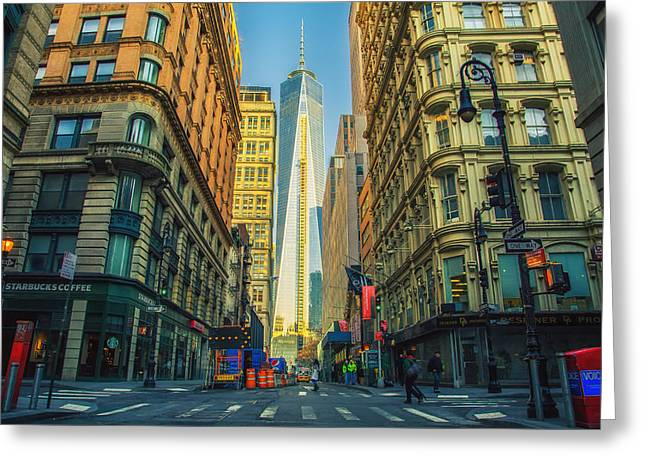 Crosswalk Greeting Cards - One World Trade Center Greeting Card by Mountain Dreams