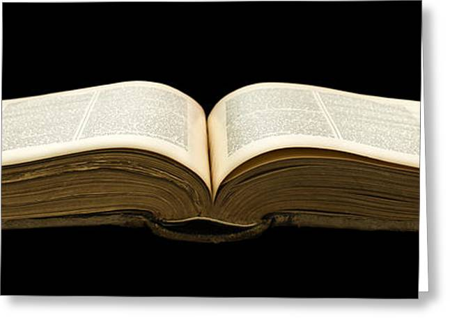 Book Cover Art Greeting Cards - Open old book Greeting Card by Deyan Georgiev