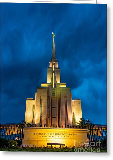 Thunderstorm Greeting Cards - Oquirrh Mountain LDS Temple Evening Thunderstorm Greeting Card by Gary Whitton
