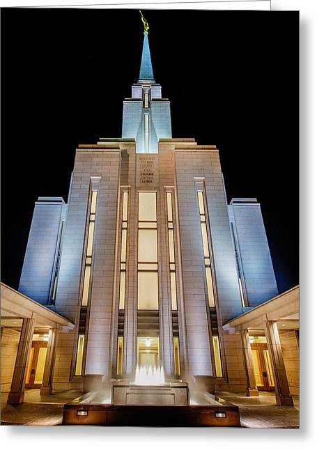 Fountain Greeting Cards - Oquirrh Mountain Temple 1 Greeting Card by Chad Dutson