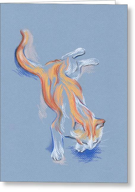 Relaxed Pastels Greeting Cards - Orange and White Tabby Cat Greeting Card by MM Anderson