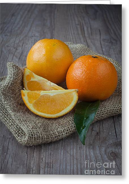 Tangerine Greeting Cards - Orange fruit Greeting Card by Sabino Parente