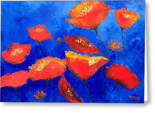 Reds Orange And Blue Greeting Cards - Orange Poppies Greeting Card by Jan Matson