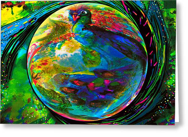 Orb Of Pavone Greeting Card by Robin Moline