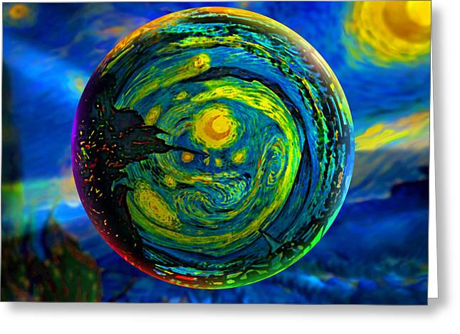 Orbiting A Starry Night  Greeting Card by Robin Moline